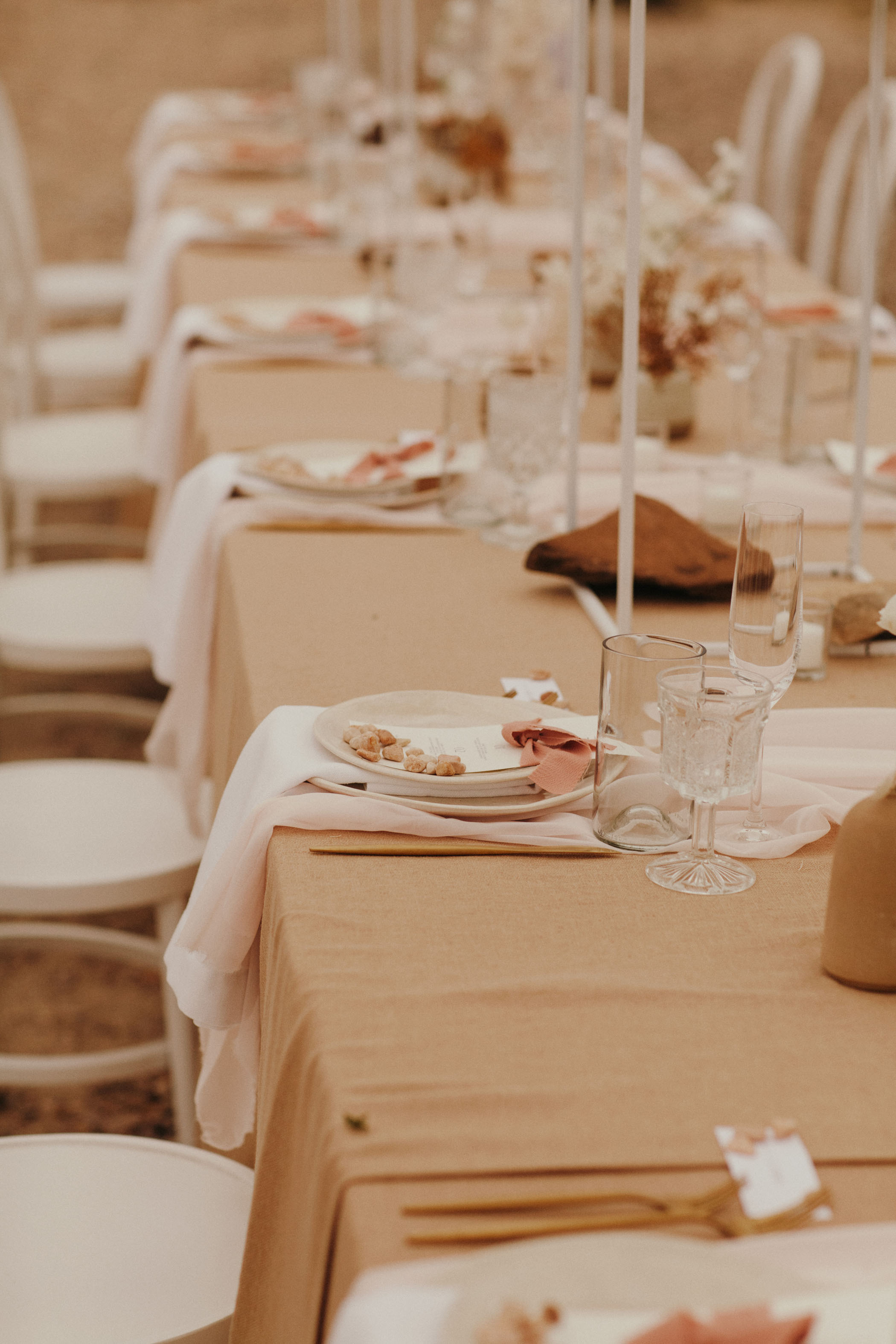 Tan and creamed toned wedding reception table