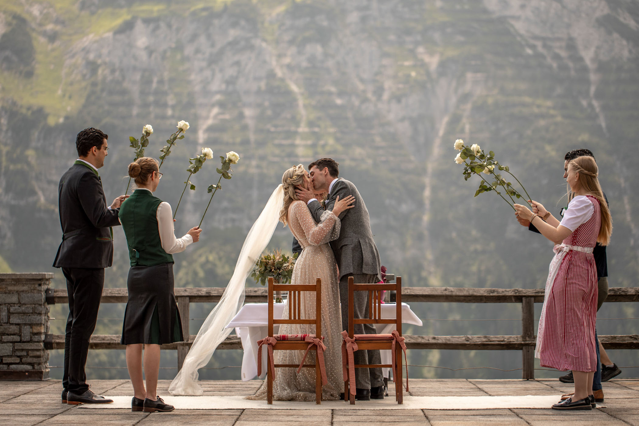 Husband and wife share first kiss during their elopement in Austria