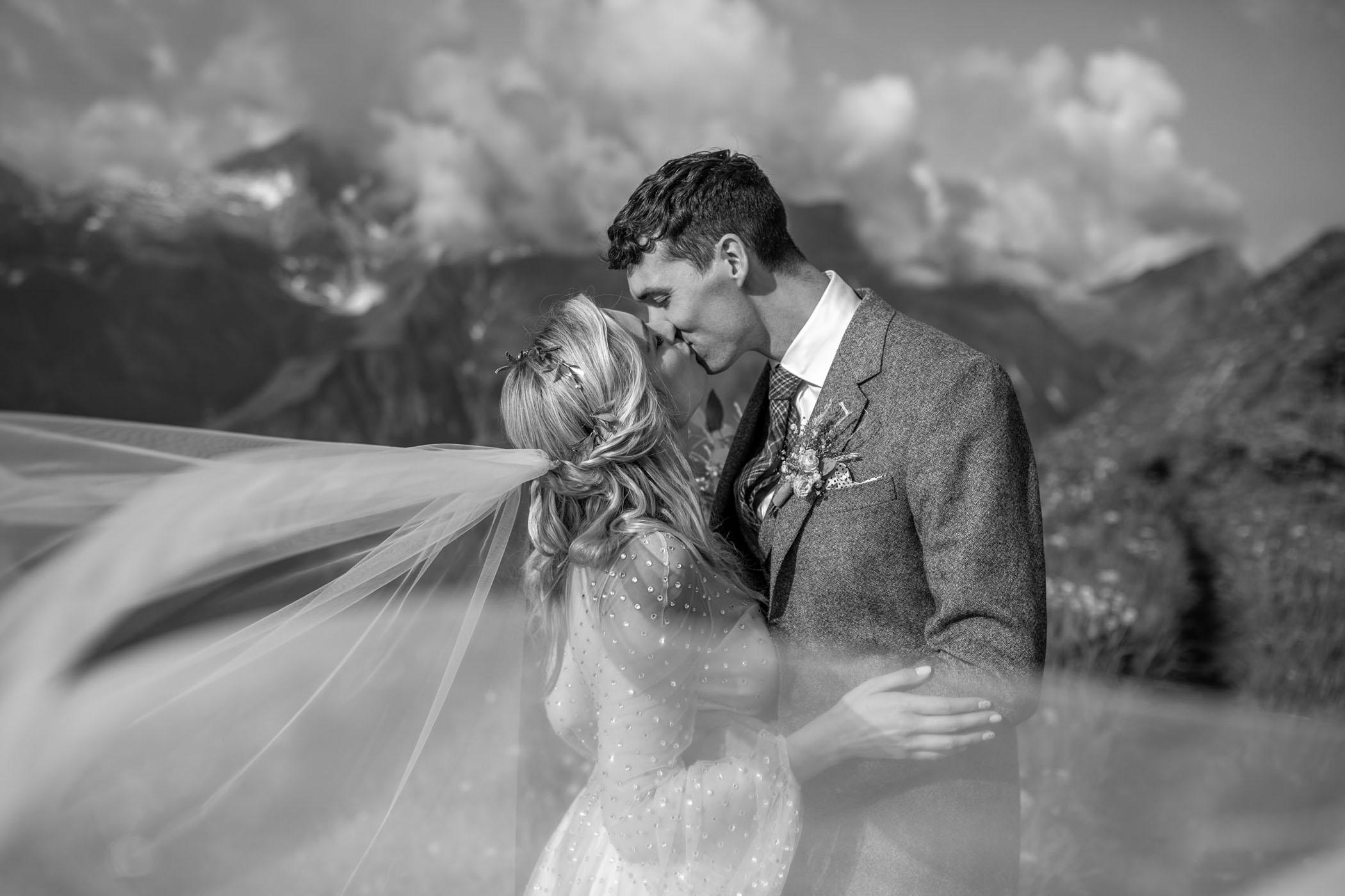 Brides's veil flows in the wind