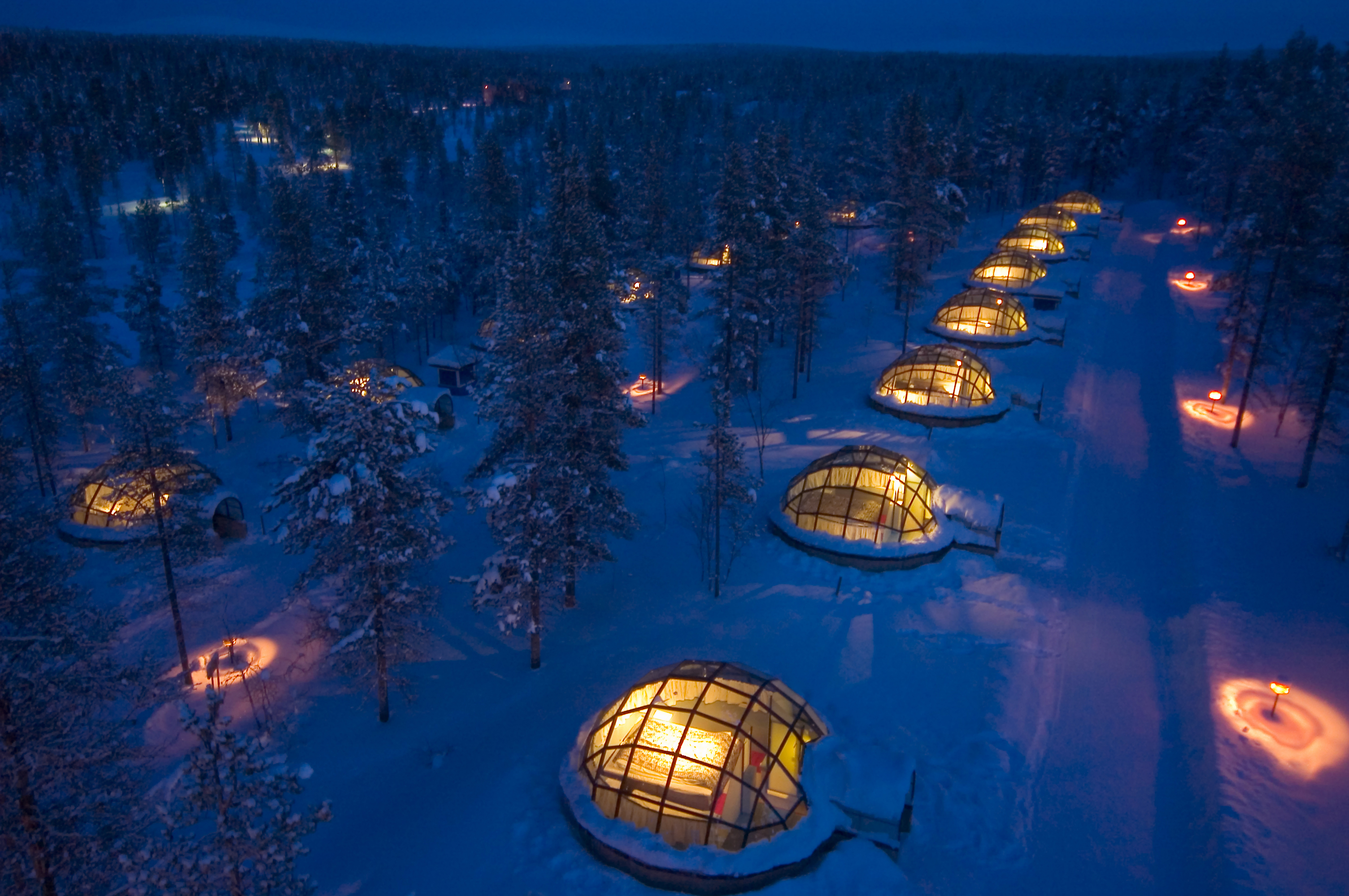 Glass Igloos in the dark
