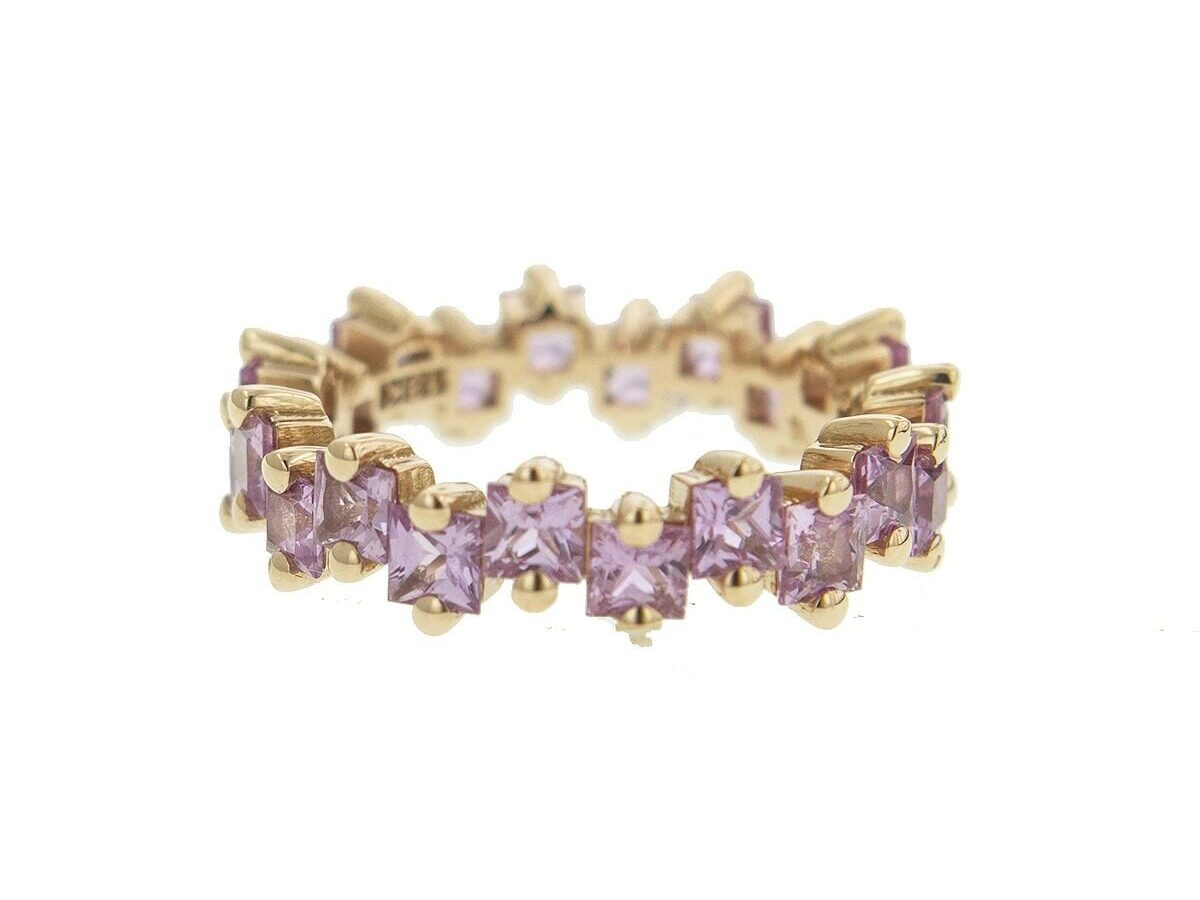 Suzanne Kalan pink princess cut sapphire studded band