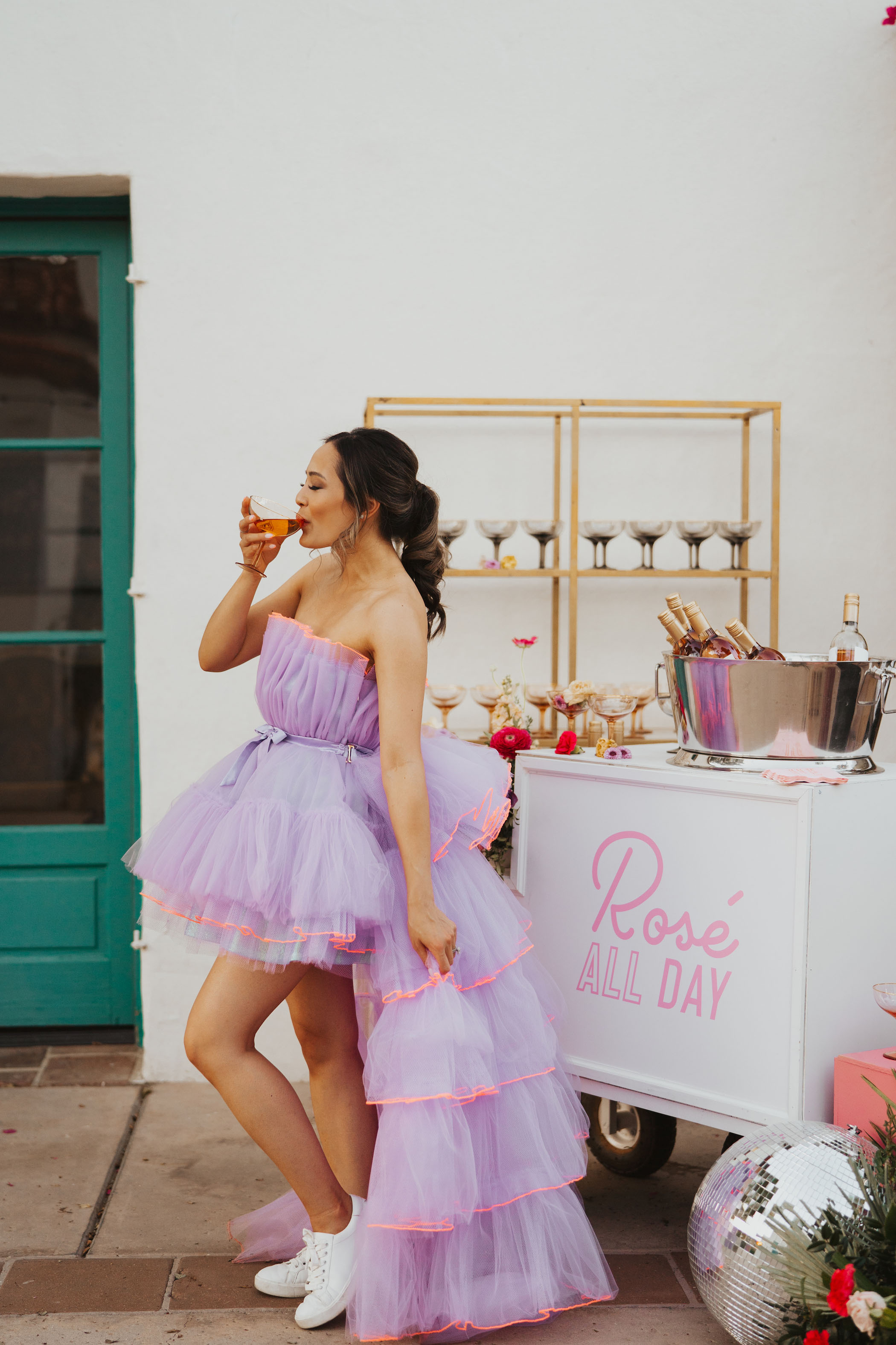Bridesmaid in Mini Lilac Dress With Rosé
