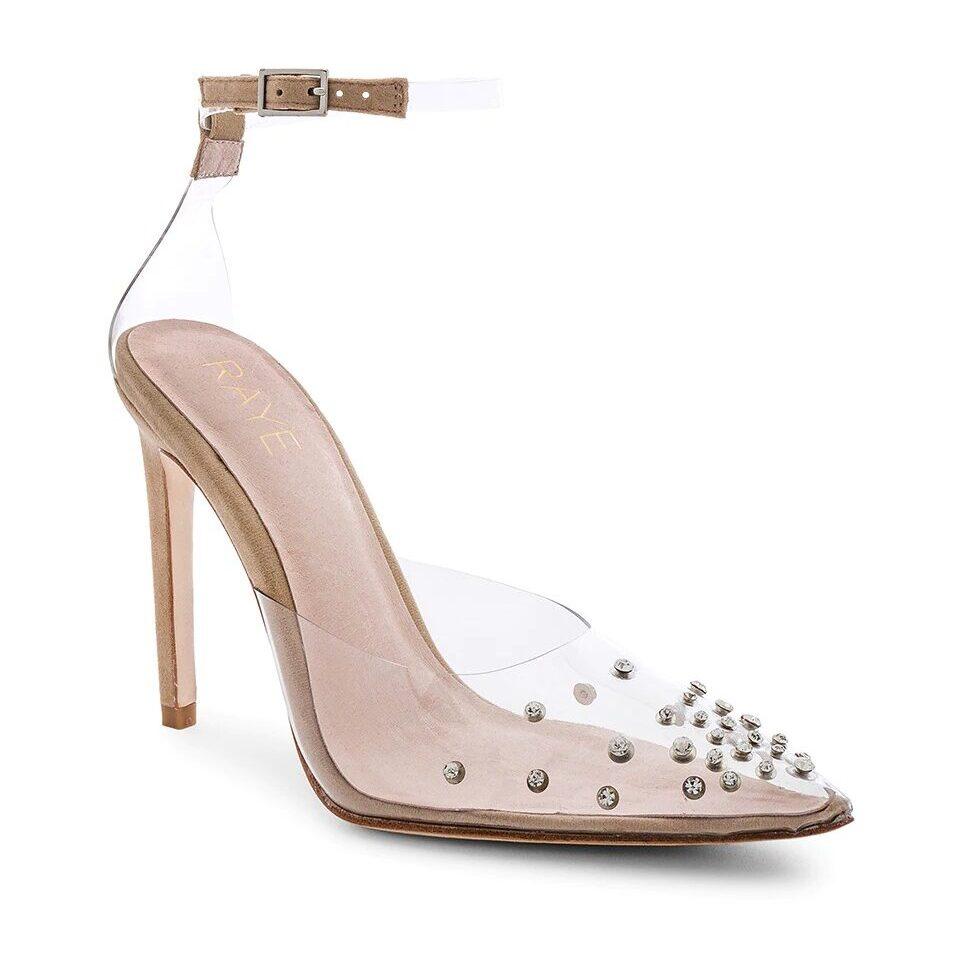 clear rhinestone embellished Revolve wedding heel shoes