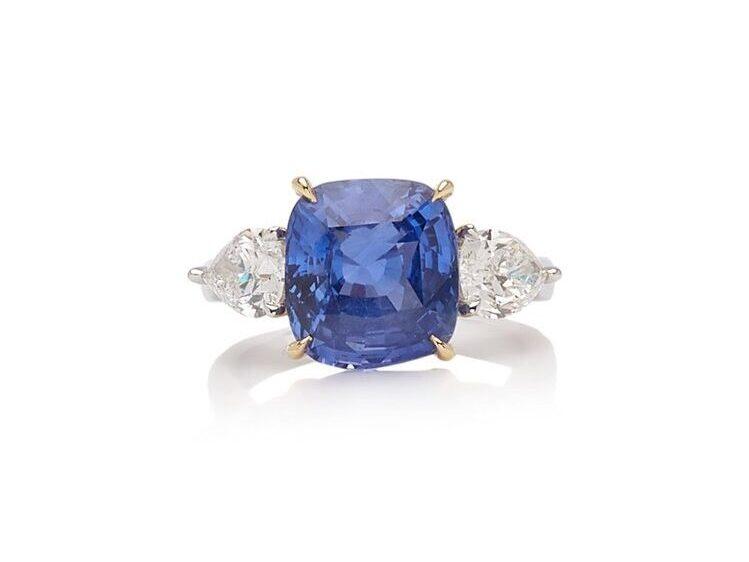 large cushion cut blue sapphire engagement ring