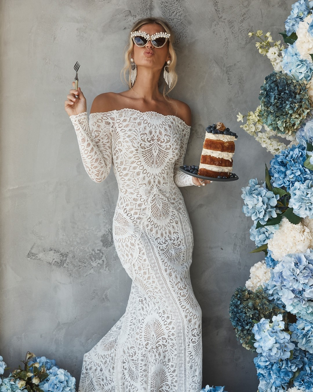 pearl sunglasses for bride in lace wedding dress by grace loves lace