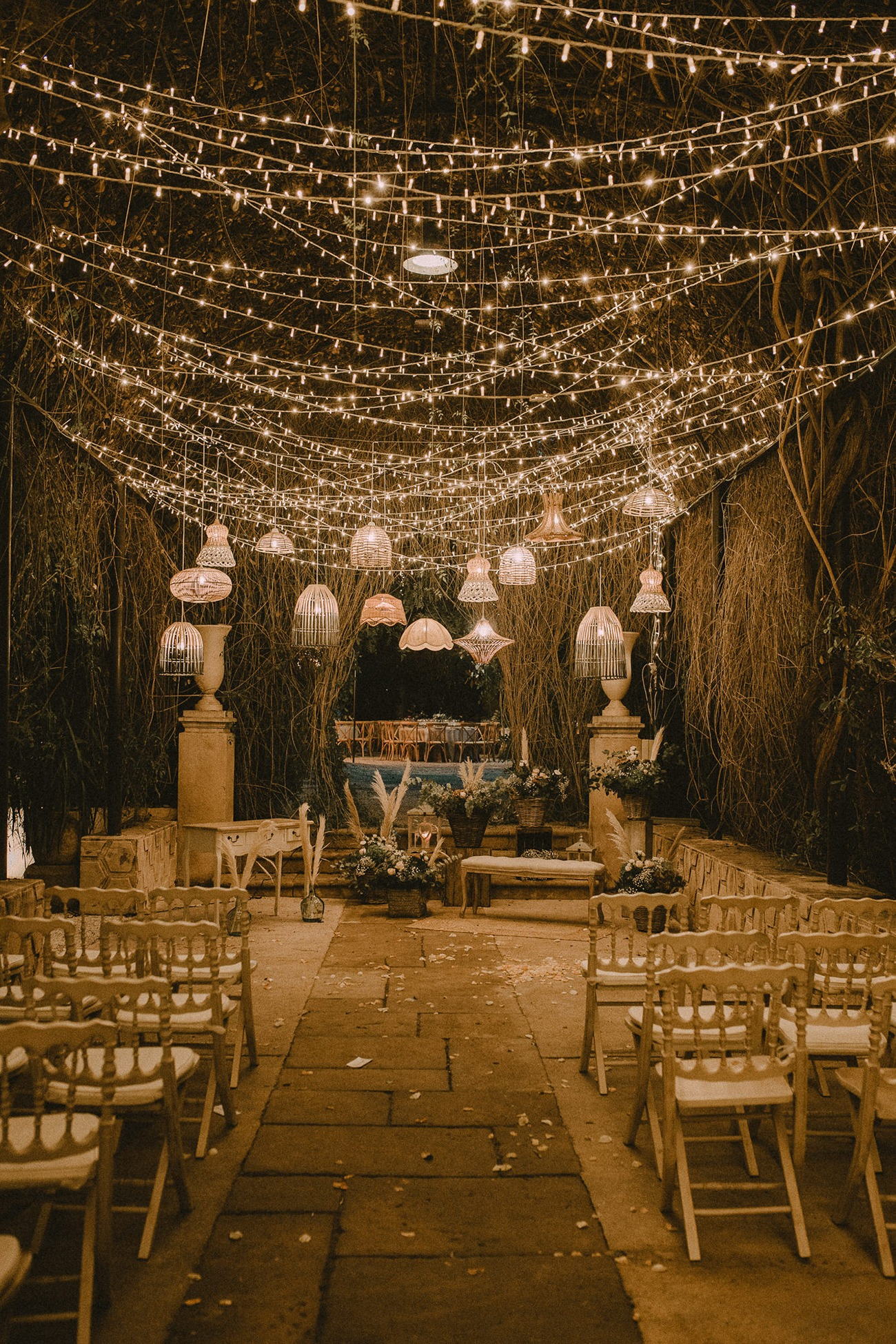Twinkle Lights and Lanterns for a Small Wedding Ceremony